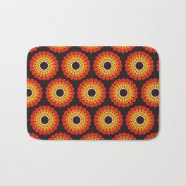 Orange red circled polka dots on black Bath Mat