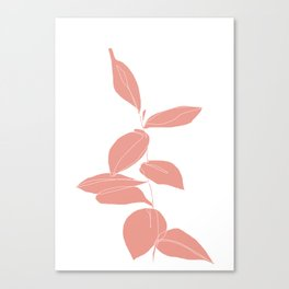 One line plant drawing - Berry Pink Canvas Print