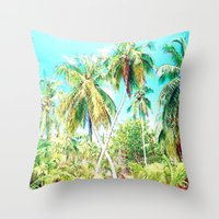 cuba Throw Pillows featuring Cuba , Palmeras ( Cuba palms ) by arnedayan