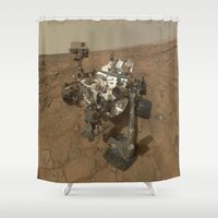 nasa Shower Curtains featuring NASA Curiosity Rover's Self Portrait at 'John Klein' Drilling Site in HD by Planet Prints