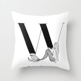 Mermaid Alphabet Series - W Throw Pillow