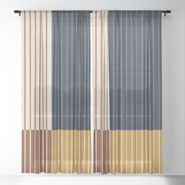 Color Block Line Abstract XIII Sheer Curtain