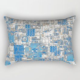 Multi Geometrical Pattern Faded Blues Rectangular Pillow