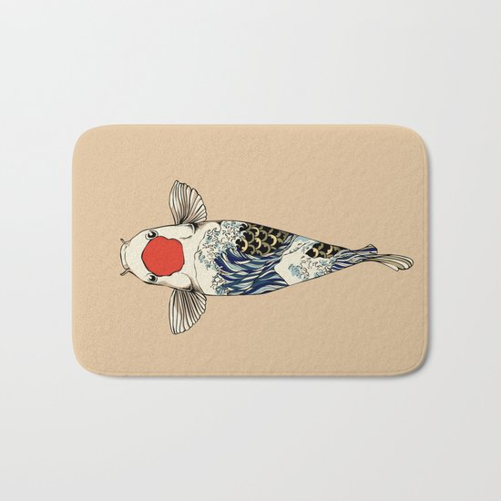 The Great Wave Of Koi Bath Mat