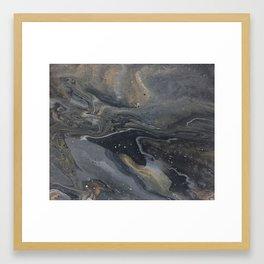 Grey&Gold Marble Framed Art Print