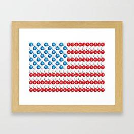 Pool Ball Billards American Flag Framed Art Print