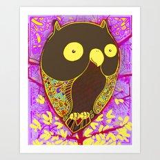 Happy Owl Art Print
