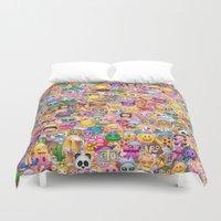 emoji Duvet Covers featuring emoji / emoticons by Marta Olga Klara