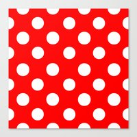 polka dots Canvas Prints featuring Polka Dots (White/Red) by 10813 Apparel