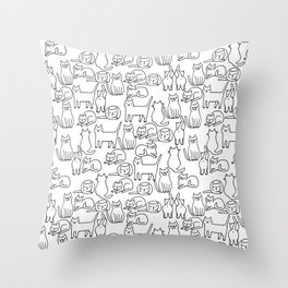 Funny sketchy white kitty cats Throw Pillow
