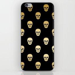 Gold Skull on black iPhone Skin