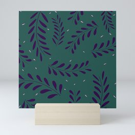 Leavy Pattern Green Mini Art Print