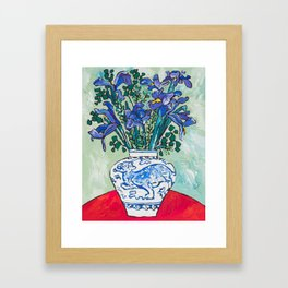 Iris Bouquet in Blue and White Asian Tiger Jar on Green and Coral Framed Art Print
