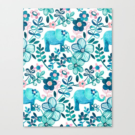 Dusty Pink, White and Teal Elephant and Floral Watercolor Pattern Canvas Print