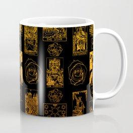 Beautiful Gold Tarot Print on Black Coffee Mug