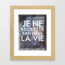 No Regrets Framed Art Print