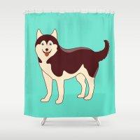 husky Shower Curtains featuring Husky Dog by TinyBee