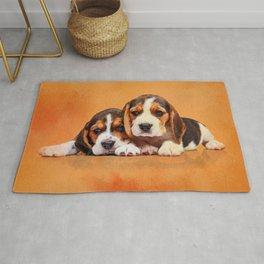 Cute Beagle puppies Rug