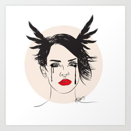 Lana and Her Red Lips - Musically Digital Fan Art Art Print
