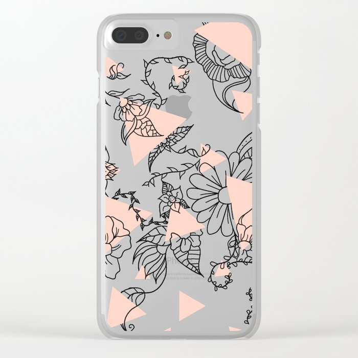 Modern hand drawn floral black illustration abstract blush pink geometric triangles Clear iPhone Case