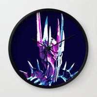 the lord of the rings Wall Clocks featuring Lord of the Rings: Splatter Sauron by Fiona Ng