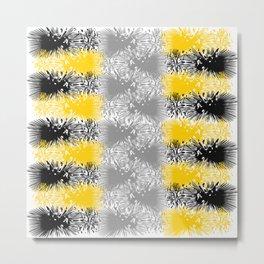 Yellow Black Splatter Pattern Metal Print