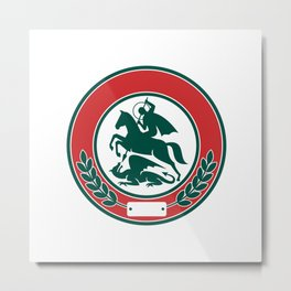 Saint George Slaying Dragon Circle Retro Metal Print