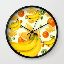 TROPICAL BANANAS-KIWI-ORANGES KITCHEN  ABSTRACT ART Wall Clock