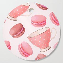Pink Macaroons & Tea Cups Cutting Board