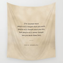 Maya Angelou Quote 01 - Typewriter Quote On Old Paper - Literary Poster - Book Lover Gifts Wall Tapestry
