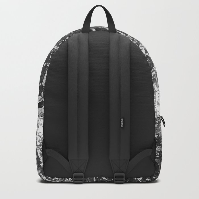 black abstract mono graffiti texture pattern Backpack