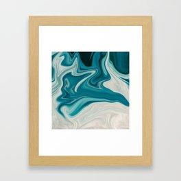 Blue White Abstract Marble Framed Art Print
