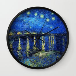 Starry Night Over the Rhone by Vincent van Gogh Wall Clock