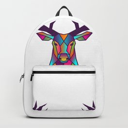 Deer   Geometric Colorful Low Poly Animal Set Backpack