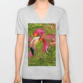 Flamingo in Jungle Unisex V-Neck