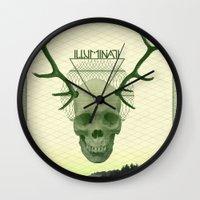 illuminati Wall Clocks featuring IlluminatI by Tommy Cash