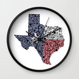 Texas - Hand Sketched Doodle Art Wall Clock