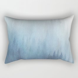 Abstract Blue Ombre Misty Forest Rectangular Pillow