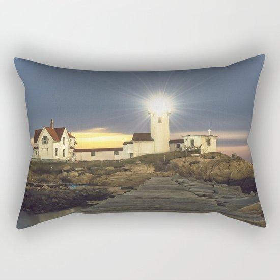 Full moon rising over Eastern point Lighthouse #2 Rectangular Pillow