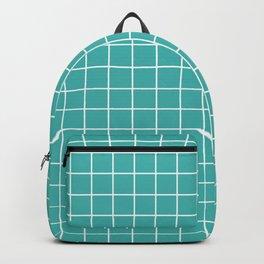 Verdigris - blue color - White Lines Grid Pattern Backpack