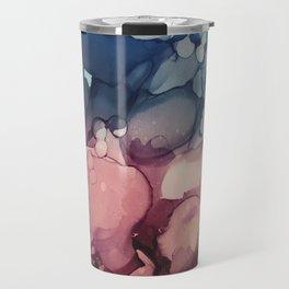 Navy Teal Blush Maroon Abstract Watercolor Painting, Travel Mug