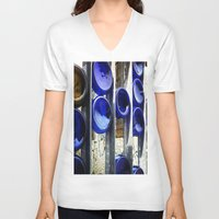 glass V-neck T-shirts featuring Glass by Blue Lightning Creative