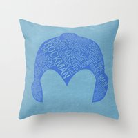 mega man Throw Pillows featuring Mega Man Typography by Kody Christian