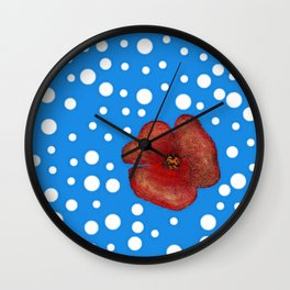 Coquelicot et neige Wall Clock