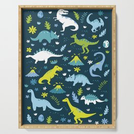 Kawaii Dinosaurs in Blue + Green Serving Tray