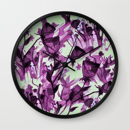 Painterly Graceful Flowing Flowers Wall Clock