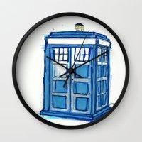 tardis Wall Clocks featuring Tardis by Stepharooskie