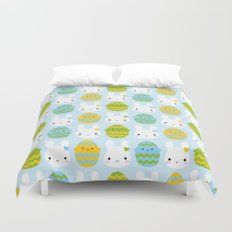 Kawaii Easter Bunny & Eggs Duvet Cover