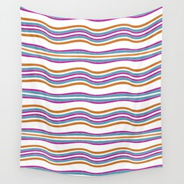 Colorful Wavy Stripes Pattern Wall Tapestry