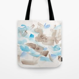 180714 Abstract Waterolour Blue Brown 21| Watercolor Brush Strokes Tote Bag